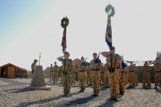 Colours on parade, Camp Bastion, Minden Day