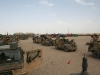 Battle group vehicles prepare to deploy from Camp Bastion